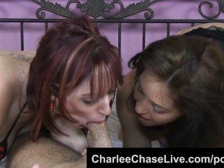 charlee مطاردة فرق مزدوجة الديك مع أحمر الشعر وقحة!