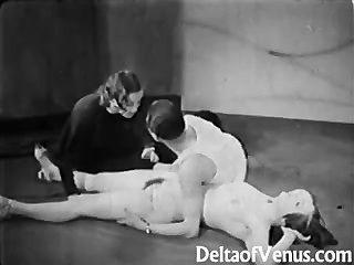 العتيقة 1930s الاباحية بعثة تقصي الحقائق الثلاثي شريط العراة