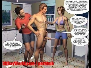الزوج اليائس 3D الرسوم المتحركة الكوميديا MMF المخنثين أو رسوم متحركة هنتاي