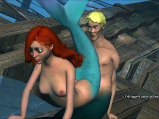 حورية البحر قليلا البرية تحصل مارس الجنس جزء لا معنى لها 3