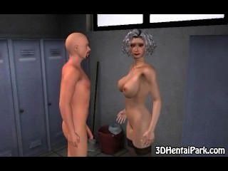 ماكر 3D فاتنة الشعر الرمادي تمتص الديك ويحصل مارس الجنس