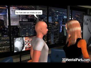 ماكر الرسوم المتحركة 3D فاتنة شقراء مص الديك الثابت
