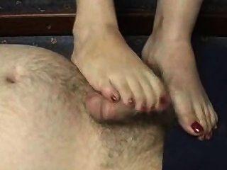 footjob أصابع الحمراء