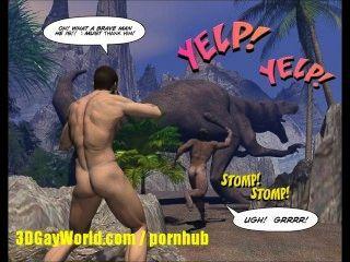 الكريتاسي الديك 3D القصة المصورة مثلي الجنس عن عالم الشباب استغل من قبل رجل الكهف!
