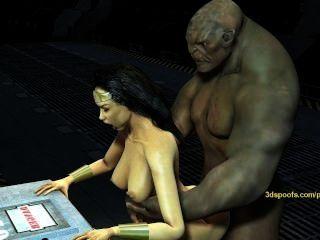 تحصل مارس الجنس wonderwoman التي كتبها القزم ضخمة ديك